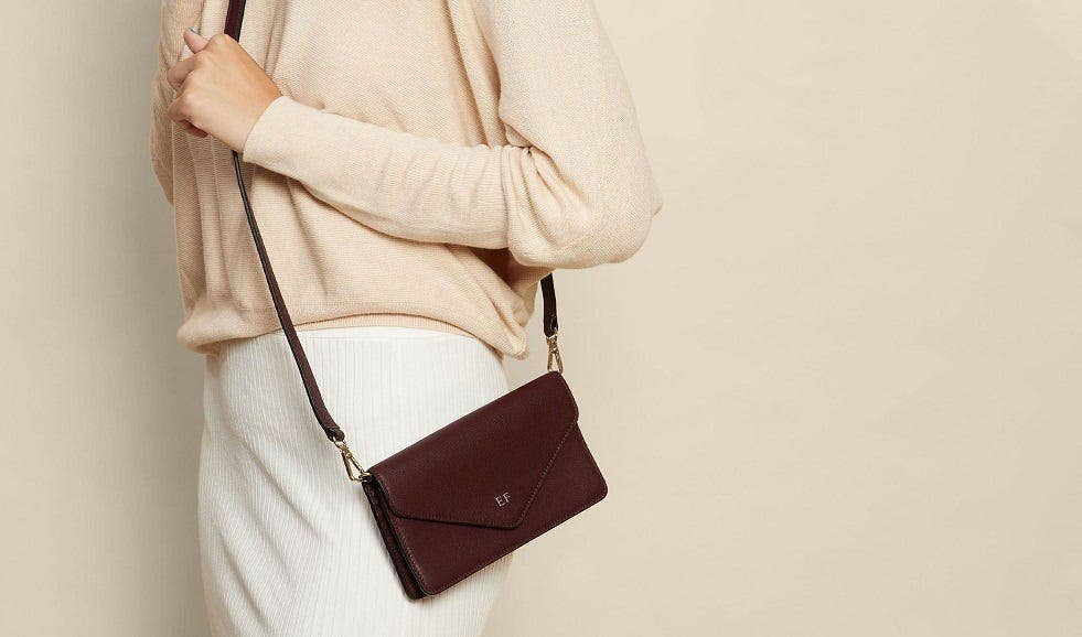 Personalized Leather Willow Envelope Crossbody