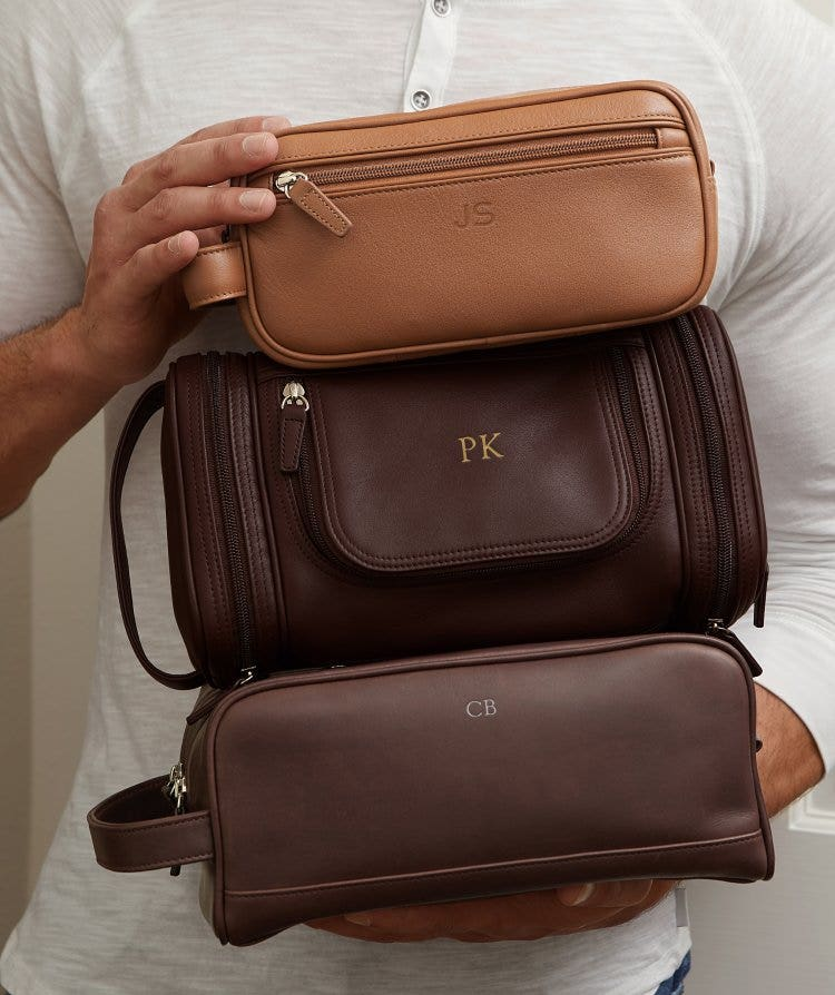 Personalized Men's Leather Toiletry Bags
