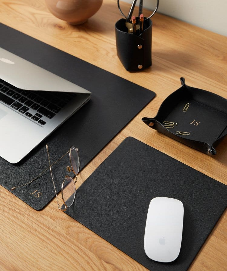 Personalized Leather Modern Desk Accessories
