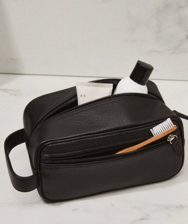 Take Only What He Needs with Men's Leather Toiletry Kits Like Our Small Shave Bag