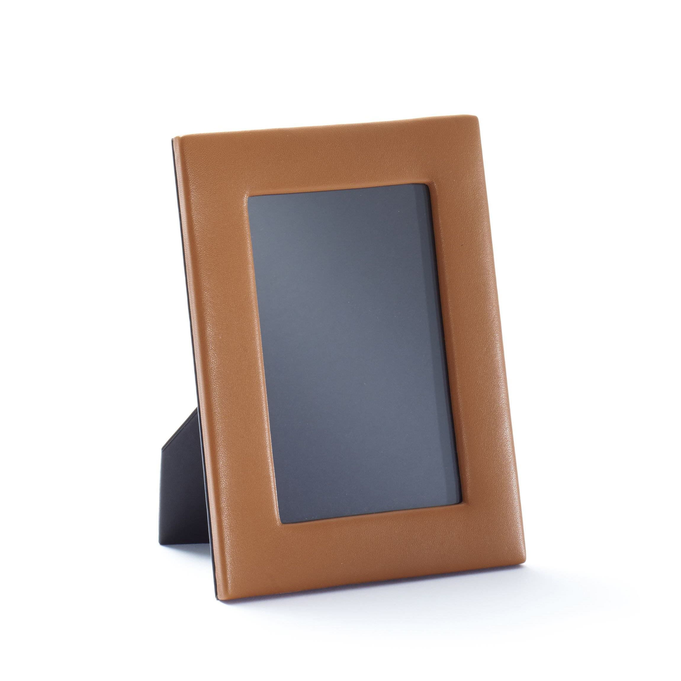 Karandu Double 4x6 Portrait Leather Picture Frame Cognac
