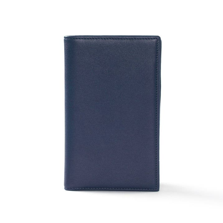 Business card organizer full grain leather navy blue colourmoves