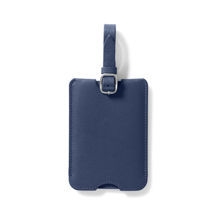 a4a20314f93e Deluxe Luggage Tag | Full Grain Leather Navy Blue