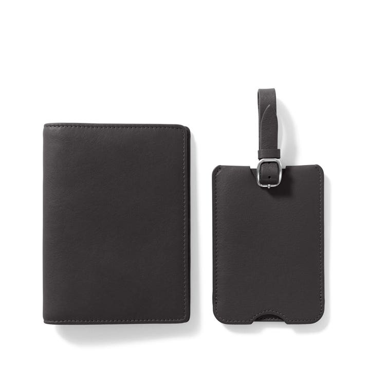 Leather Passport Cover with Personalized Leather Luggage Tag in Turqoise