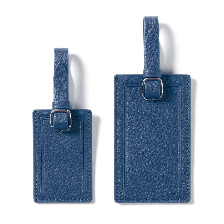 faeee600033e Privacy Luggage Tags   Full Grain Leather Cobalt Blue