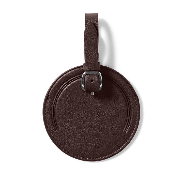 cde37470ba67 Small Round Luggage Tag | Full Grain Leather Brown Brown