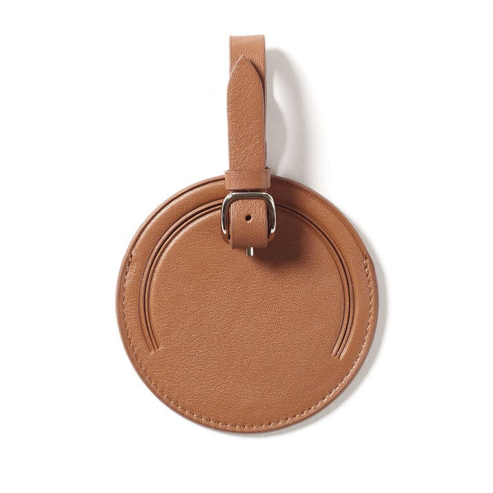 c6573a974c0b Small Round Luggage Tag | Full Grain Leather Cognac Tan