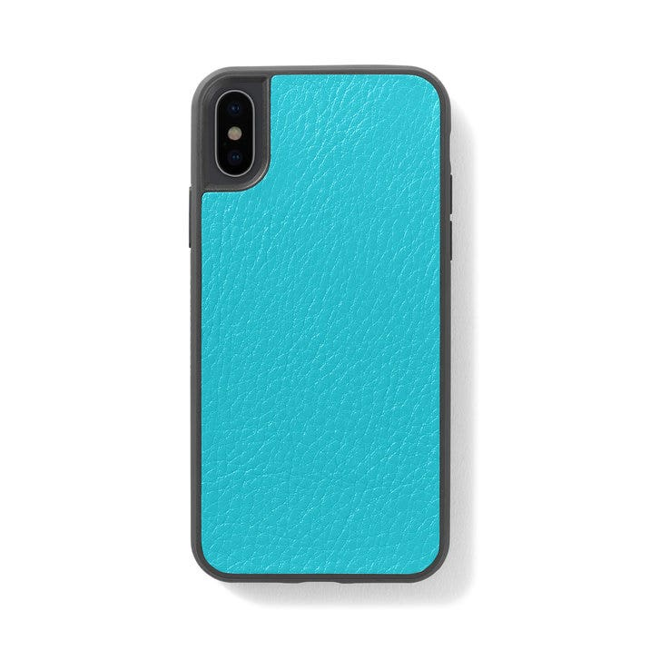 Iphone X Xs Case Full Grain Leather Teal Blue