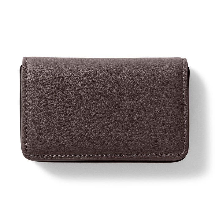 Business card case full grain leather chocolate brown colourmoves