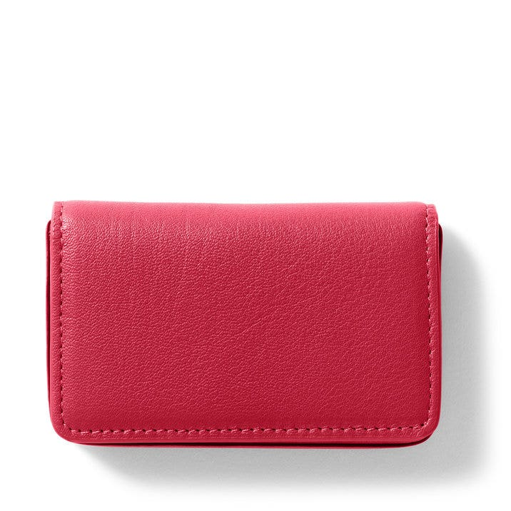 business card case full grain leather red apple - Leather Business Card Case