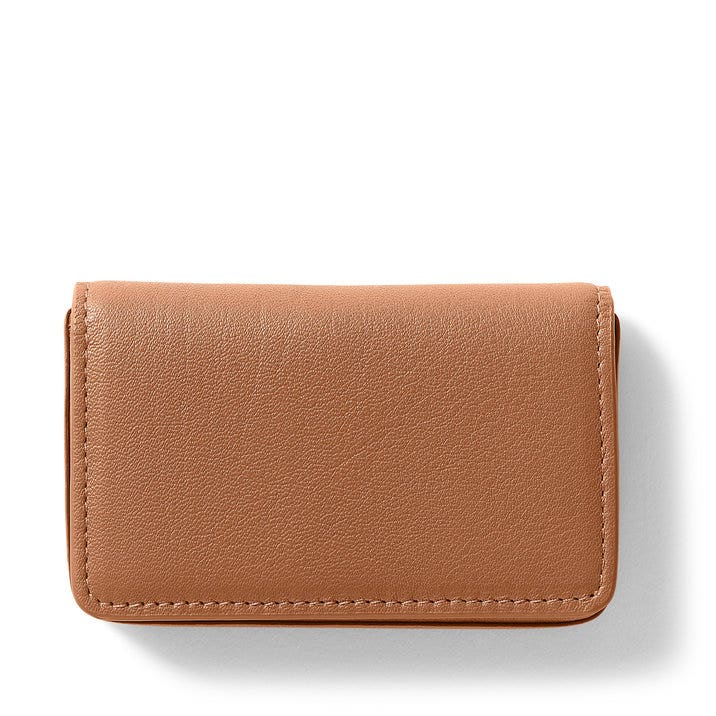 Business card case full grain leather cognac tan colourmoves