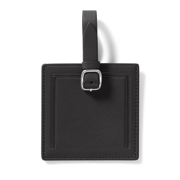 464dcb9559f3 Small Square Luggage Tag | Full Grain Leather Black Onyx