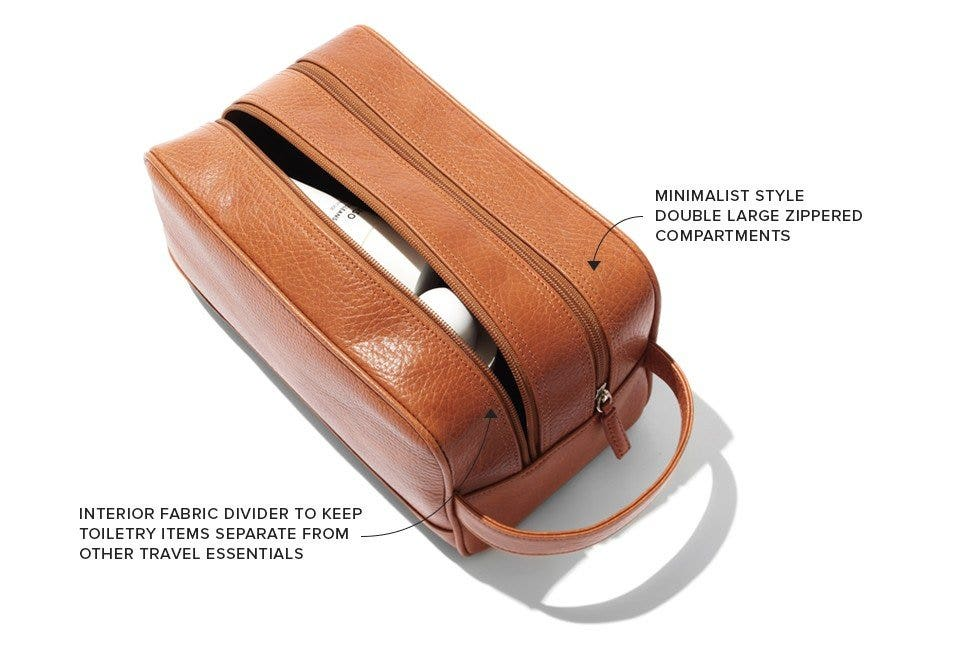 Double zippered compartments to divide toiletry from travel accessories