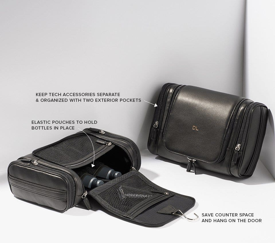 Hanging toiletry bag with 3 compartments and interior elastic pouches
