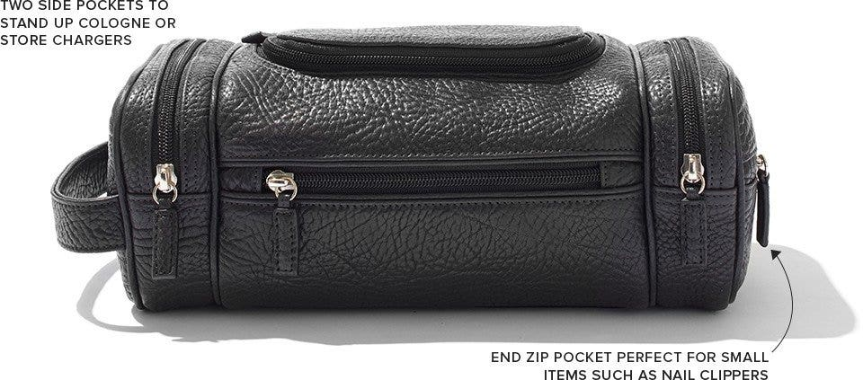 Toiletry dopp kit with multiple pockets for organized travel